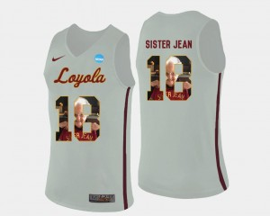 Mens Sister Jean Loyola Jersey White Pictorial Fashion #18 Basketball