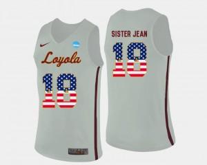 US Flag Fashion For Men's Basketball #18 Sister Jean Loyola Jersey White