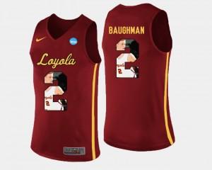 Pictorial Fashion Basketball Maroon #2 For Men Jake Baughman Loyola Ramblers Jersey