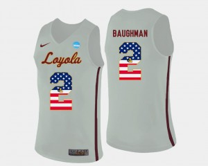 Mens #2 White Basketball US Flag Fashion Jake Baughman Loyola Ramblers Jersey