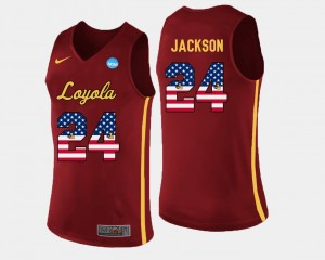 Maroon US Flag Fashion #24 Basketball Men Aundre Jackson Loyola Ramblers Jersey