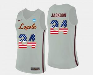 Aundre Jackson Ramblers Jersey US Flag Fashion For Men's Basketball #24 White