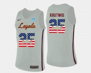 Cameron Krutwig Ramblers Jersey #25 Basketball US Flag Fashion White Mens