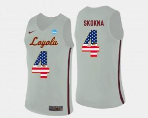Men's #4 Bruno Skokna Ramblers Jersey US Flag Fashion White Basketball