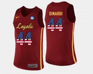 US Flag Fashion #44 Men Nick Dinardi Ramblers Jersey Basketball Maroon
