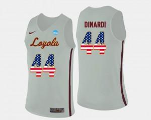 US Flag Fashion For Men #44 Basketball Nick Dinardi Loyola Ramblers Jersey White