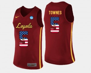 US Flag Fashion #5 Basketball For Men Maroon Marques Townes Loyola Ramblers Jersey