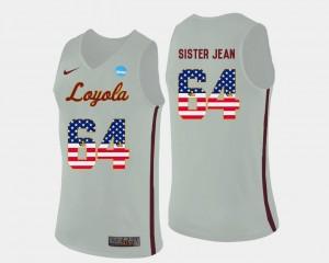 White For Men's Sister Jean Loyola Ramblers Jersey #64 Basketball US Flag Fashion