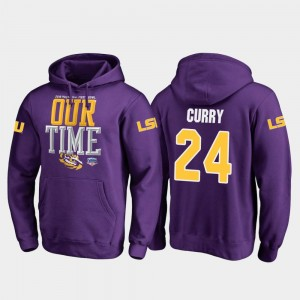 Fanatics Branded Counter Purple 2019 Fiesta Bowl Bound Chris Curry LSU Tigers Hoodie #24 Mens