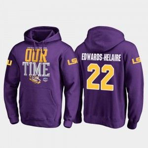 Fanatics Branded Counter Purple Men #22 Clyde Edwards-Helaire Louisiana State Tigers Hoodie 2019 Fiesta Bowl Bound
