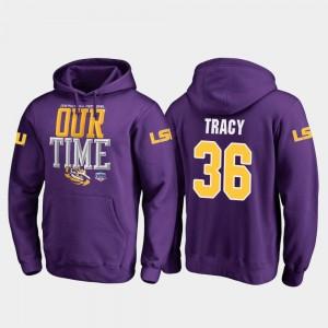 2019 Fiesta Bowl Bound Cole Tracy LSU Hoodie Mens Purple #36 Fanatics Branded Counter