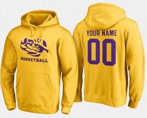 Name and Number LSU Custom Hoodie Gold Basketball Men #00