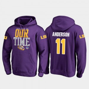 2019 Fiesta Bowl Bound Men Purple Dee Anderson Tigers Hoodie #11 Fanatics Branded Counter