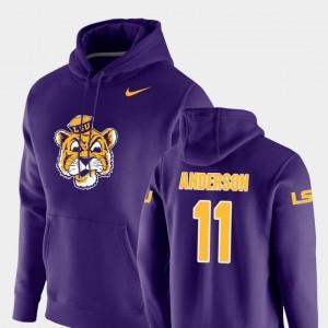 For Men's Nike Pullover Vault Logo Club Purple Dee Anderson LSU Tigers Hoodie #11