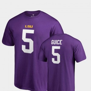 Name & Number College Legends Derrius Guice Louisiana State Tigers T-Shirt Men Purple #5