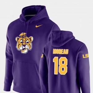 Foster Moreau LSU Tigers Hoodie Vault Logo Club #18 Mens Nike Pullover Purple
