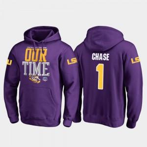 #1 Ja'Marr Chase LSU Hoodie Men's Fanatics Branded Counter Purple 2019 Fiesta Bowl Bound