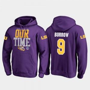 Purple #9 Fanatics Branded Counter Joe Burrow LSU Hoodie For Men 2019 Fiesta Bowl Bound