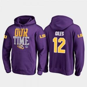 2019 Fiesta Bowl Bound For Men's Fanatics Branded Counter Jonathan Giles Louisiana State Tigers Hoodie Purple #12