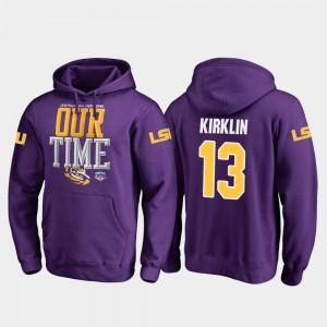 For Men's 2019 Fiesta Bowl Bound #13 Jontre Kirklin Louisiana State Tigers Hoodie Fanatics Branded Counter Purple