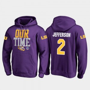 2019 Fiesta Bowl Bound Fanatics Branded Counter Purple Men #2 Justin Jefferson LSU Hoodie