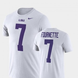 Mens Name and Number Leonard Fournette LSU T-Shirt White Nike Football Performance #7