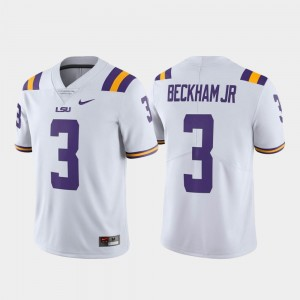 Men #3 Alumni Football Odell Beckham Jr LSU Tigers Jersey White Limited