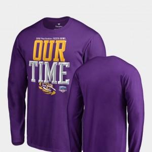 2019 Fiesta Bowl Bound LSU Tigers T-Shirt Counter Long Sleeve Fanatics Branded Men Purple