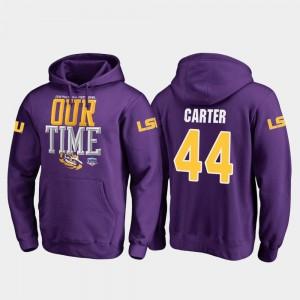 Tory Carter Tigers Hoodie Mens Purple Fanatics Branded Counter #44 2019 Fiesta Bowl Bound