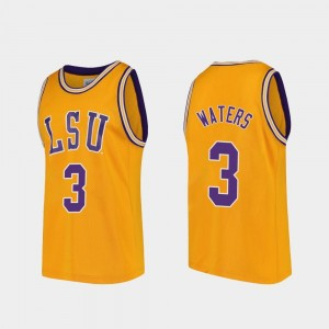 Men's Gold Replica Tremont Waters LSU Jersey College Basketball #3