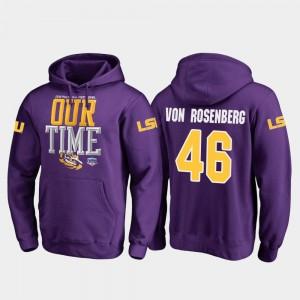 #46 Zach Von Rosenberg Louisiana State Tigers Hoodie 2019 Fiesta Bowl Bound Purple Men Fanatics Branded Counter
