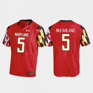 Men's Replica Under Armour Anthony McFarland Terrapins Jersey Red #5 College Football