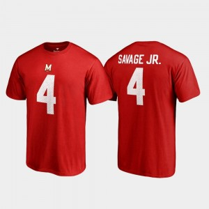 Darnell Savage Jr. Maryland T-Shirt #4 Fanatics Branded Name & Number College Legends Red Mens