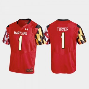Replica Under Armour #1 For Men College Football DJ Turner Maryland Jersey Red