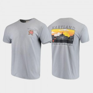 Maryland Terrapins T-Shirt For Men's Campus Scenery Comfort Colors Gray