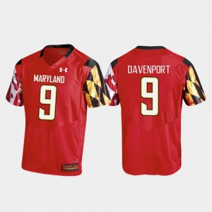For Men's Jahrvis Davenport Maryland Jersey #9 College Football Replica Under Armour Red