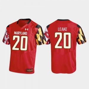 College Football #20 Red Replica Under Armour Javon Leake Terrapins Jersey Men's