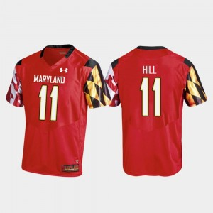 Men's College Football Replica Under Armour Red #11 Kasim Hill University of Maryland Jersey