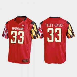 Tayon Fleet-Davis Maryland Terrapins Jersey For Men College Football Red #33 Replica Under Armour