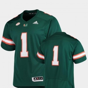Green College Football Premier Adidas For Men's #1 Hurricanes Jersey
