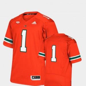 Mens College Football Orange Miami Jersey Premier Adidas #1