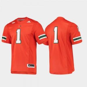 #1 For Men's Football Adidas Orange University of Miami Jersey Premier