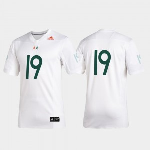 2019 Special Game Premier Football For Men #19 White University of Miami Jersey