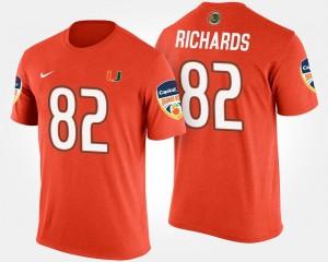For Men Orange Ahmmon Richards Hurricanes T-Shirt #82 Bowl Game Bowl