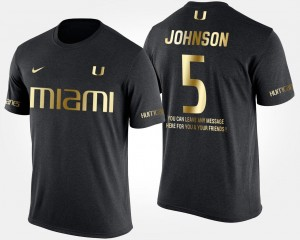 Short Sleeve With Message Andre Johnson University of Miami T-Shirt Mens #5 Black Gold Limited
