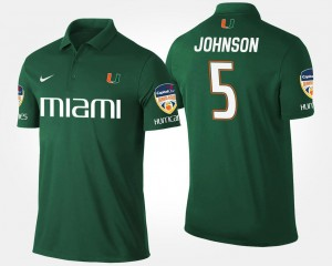 Bowl Game Orange Bowl Name and Number Andre Johnson Miami Polo #5 For Men Green