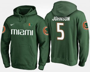 Name and Number #5 Green Andre Johnson Miami Hoodie For Men's