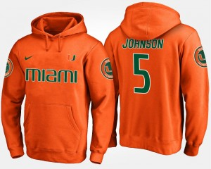 Orange Name and Number For Men's Andre Johnson University of Miami Hoodie #5