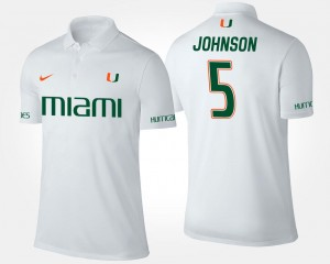 #5 For Men's Andre Johnson Miami Polo Name and Number White