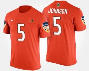 Bowl Game Bowl Men #5 Andre Johnson Miami Hurricanes T-Shirt Orange